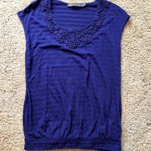 Sheer stripe sleeveless with crochet neckline